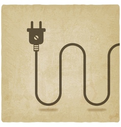 electric wire with plug old background vector image