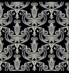 elegant baroque 3d seamless pattern ornate vector image