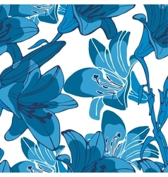 Elegant seamless lilly flowers pattern vector image