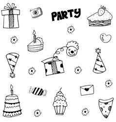 Element Party doodle with hand draw vector