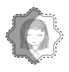 Emblem happy woman close eyes vector