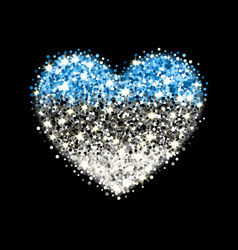 estonia flag sparkling heart badge vector image