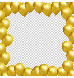 festive frame with gold balloons on transparent vector image