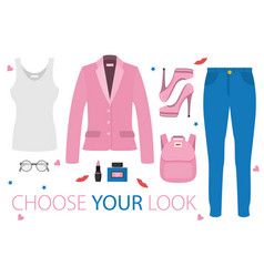 flat girl look set vector image