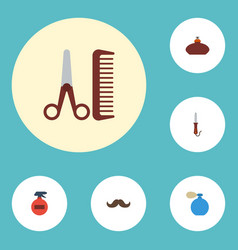 Flat icons spray perfume whiskers and other vector