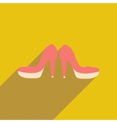 Flat web icon with long shadow women s shoes vector
