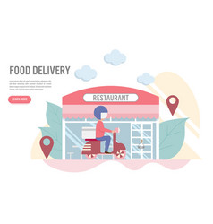 food delivery concept with charactera man with vector image