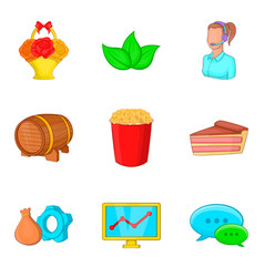 food delivery icons set cartoon style vector image