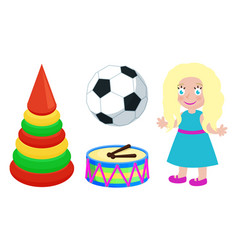 football ball and doll toys vector image