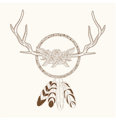 Free spirit dream catcher horns rustic vector