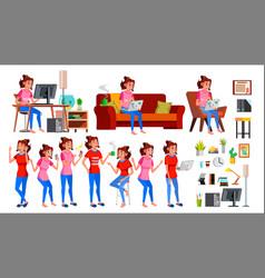 freelancer worker woman happy clerk vector image