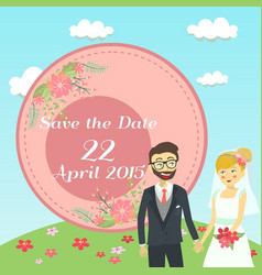 garden wedding invitation card vector image