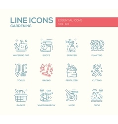 Gardening - line design icons set vector