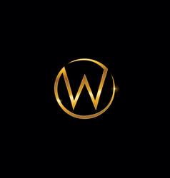 golden monogram letter w logo sign vector image