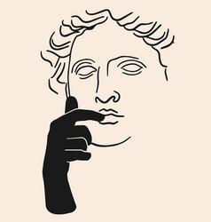hand drawn flat antique head vector image