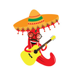 happy pepper with a guitar and a hat vector image
