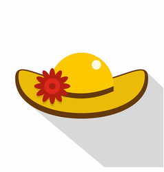 Hat with flower icon flat style vector