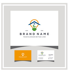 Home electric leaf logo design with business card vector