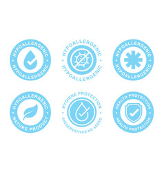 hypoallergenic tested logo label vector image