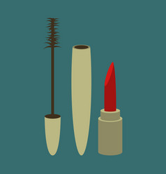 icon in flat design fashion mascara and lipstick vector image