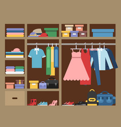large wardrobe with different clothes vector image