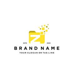 Letter z file folder logo design vector