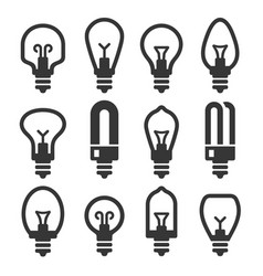 light bulb icons set on white background vector image
