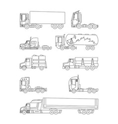 line sketch trucks and trailers on a white vector image