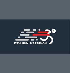 logo for running marathon silhouette runner at vector image
