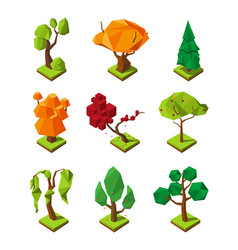 Low poly isometric trees vector