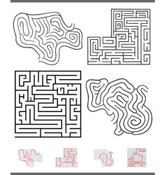 maze leisure game graphics set with solutions vector image