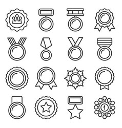 medal trophy and awards icons set line style vector image