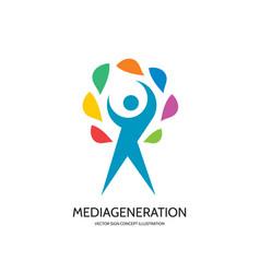 Media generation - logo template concept vector