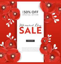 Memorial day sale banner with paper cut poppy vector