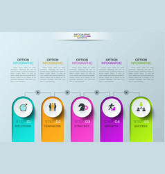 modern infographic design template 5 elements vector image