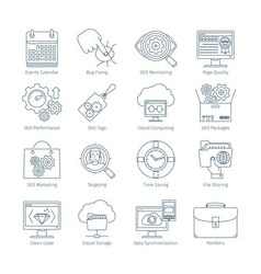 modern seo thin line icons 2 vector image
