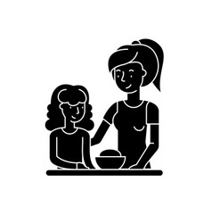 mom and daughter black icon sign on vector image