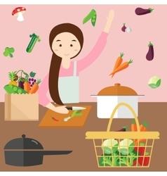 Moms woman cooking kitchen vegetable ingredients vector