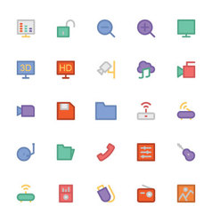 Multimedia Colored Icons 3 vector image