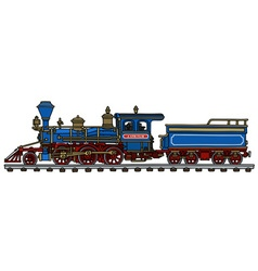 Old blue american steam locomotive vector