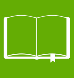 open book with bookmark icon green vector image