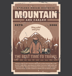 outdoor adventure equipments mountain and forest vector image