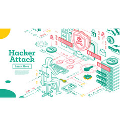 Outline hacker attack isometric cyber security vector