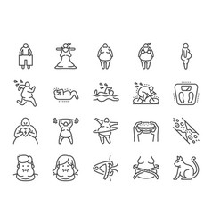 Overweight line icon set vector