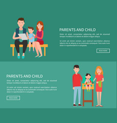parents and child web posters family mother father vector image