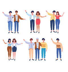 People group portrait friends waving couples vector