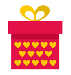 Pink gift box with yellow hearts icon isolated vector