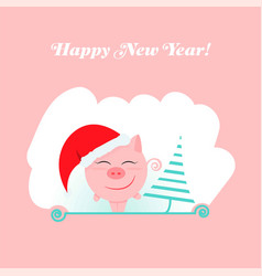 pink pig new year 2019 happy holiday design vector image
