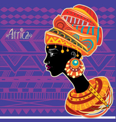 Portrait of african woman in ethnic turban vector