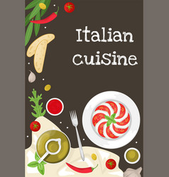 Poster with italian cuisine caprese with basil vector